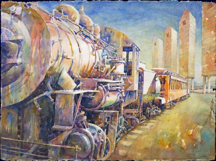 train_with_towers, watercolor, 30x22