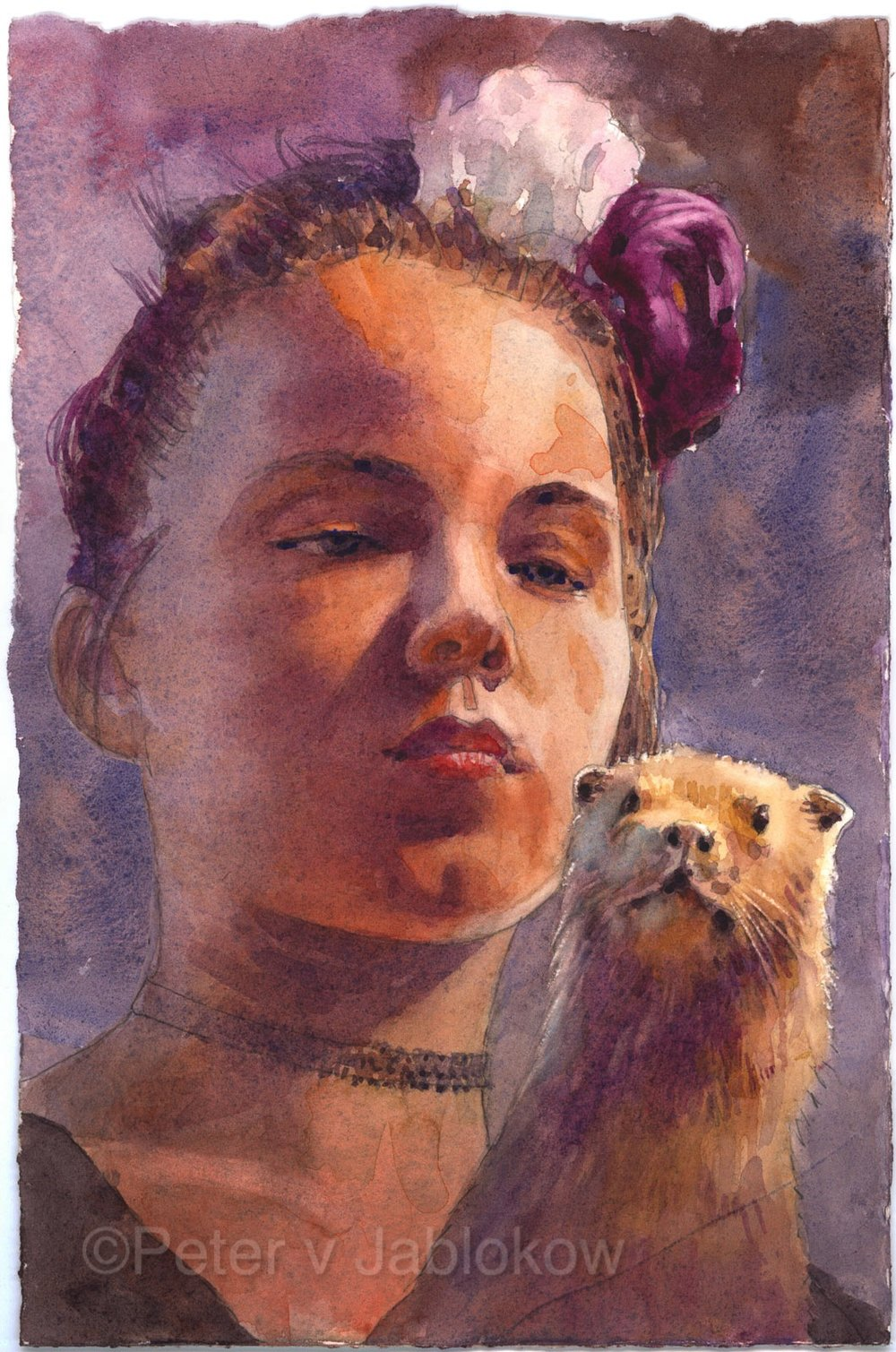 Woman with Ferret