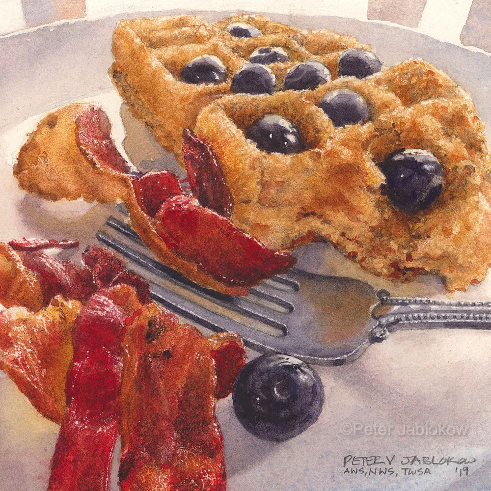 Waffle with Blueberries and Bacon