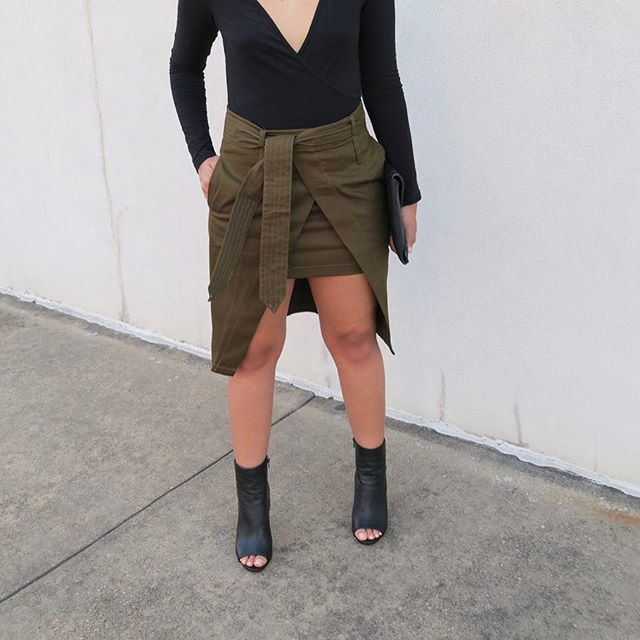 The perfect shade of olive. // 'High Line Wrap Skirt' Shop 50% off now 〰www.emmiandreese.com