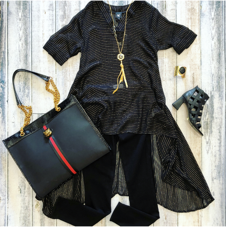 c03d1f311c53 Nu Denmark Black Metallic Stripe Hi-Low   INZI Tote Bag — Chaussure