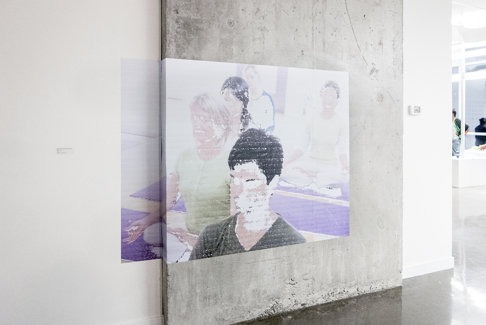 "Face Off (Yoga)  ,   (installation view at YTB gallery, Toronto),   Polina Teif and Shannon Garden-Smith     72"" x 54"", digital adhesive vinyl print,  2015"