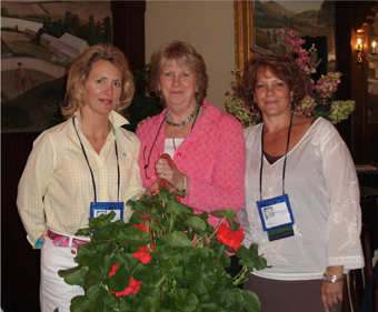 Honorary Member Audrey Livingston (center) with Past Membership Chair Terri Swanson and Past President Sandy Marshall at 2008 NEADHVS Conference in Simsbury, CT.