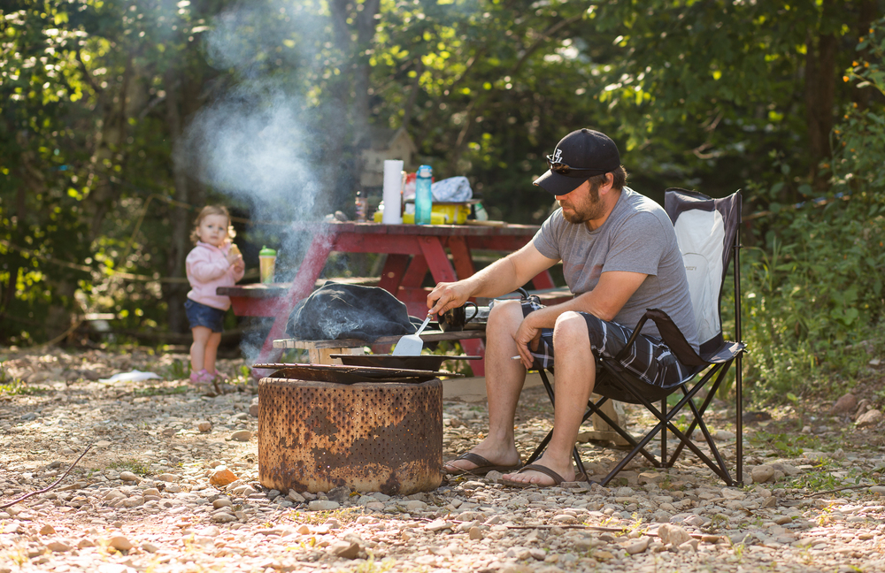 We spend our weekends during the summer at a camp in Bathurst.  The beach is close by and there's lots of places to fish.  We all sleep in the camp, hubby cooks our food on the fire and the kids get really dirty by the time we head for home!