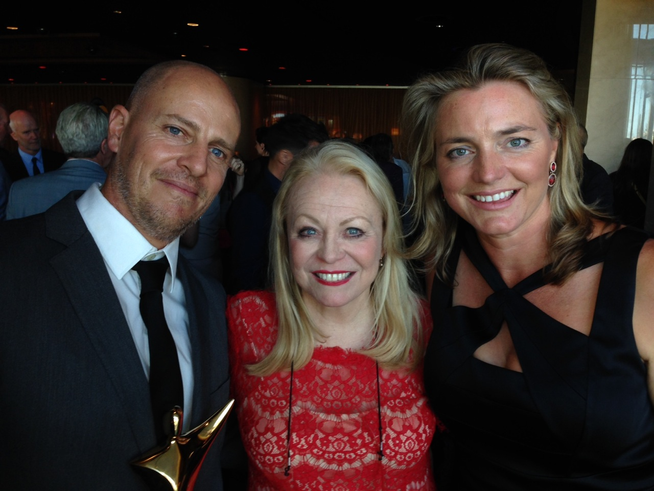 Nick Robinson and Kakadu's Commissioning Editor Karina Holden (right) with actress Jackie Weaver.