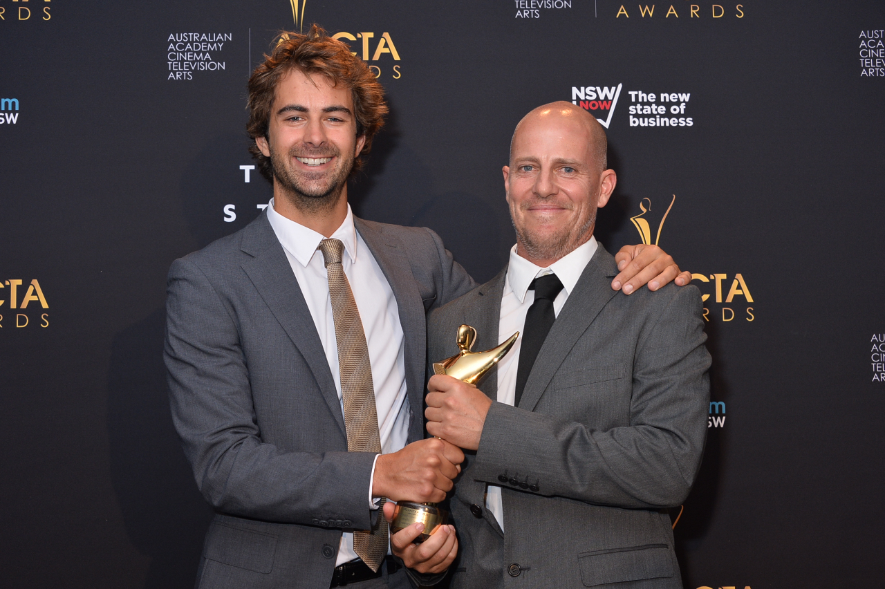 Luke Peterson and Nick Robinson accepting the award. Photograph by Fiora Sacco