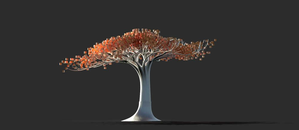 DREAMER, with copper cubes for leaves and stainless steel trunk. Rendering by Jake Bjeldanes