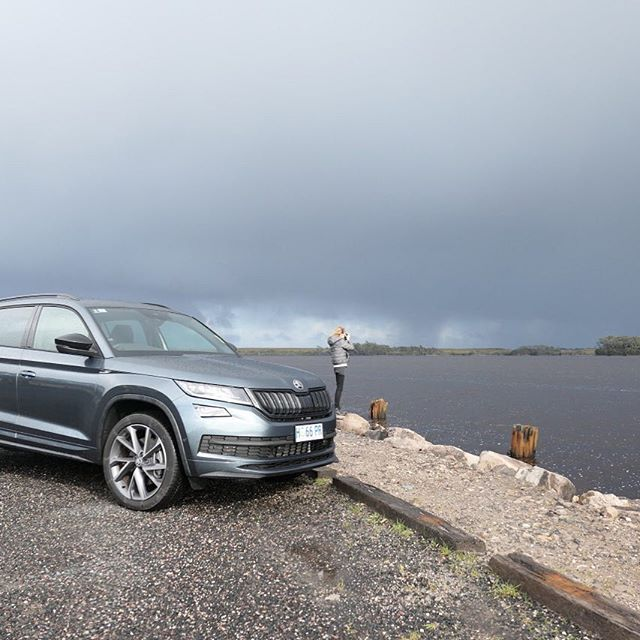 Blue skies one minute, moody clouds the next.⠀ The Skoda Kodiaq 4x4 from Neil Buckby Motors ready to tackle the infamous West Coast weather.