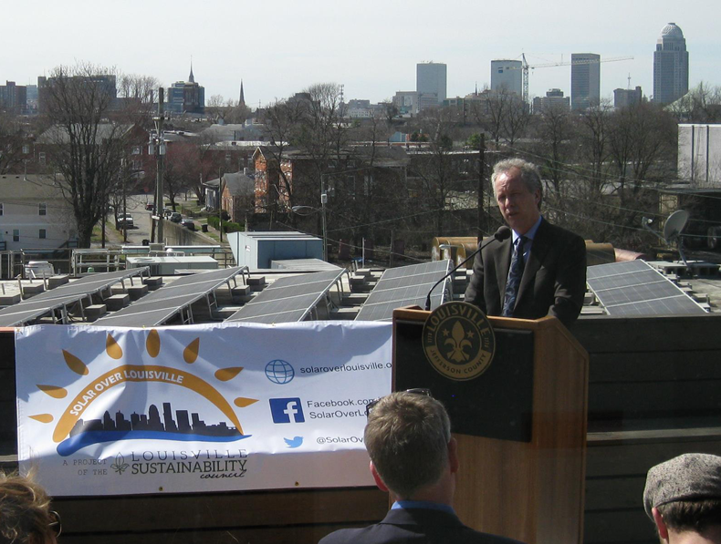 Mayor Greg Fischer announcing Solar Over Louisville initiative at Copper & Kings