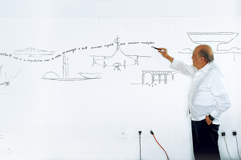 Oscar Niemeyer at age 97 in his office in Rio de Janeiro, photo David Harry Stewart -