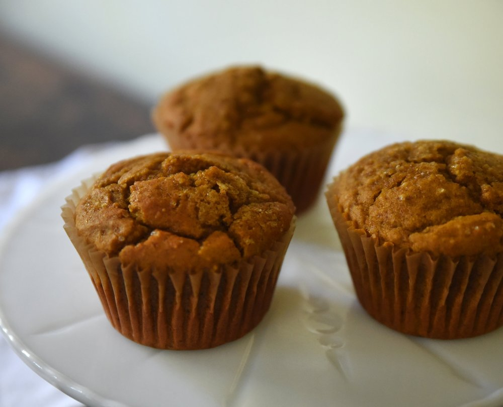 Pumpkin Muffins  Pumpkin, cinnamon, ginger and cloves, topped with turbinado sugar.  Half Dozen for $15