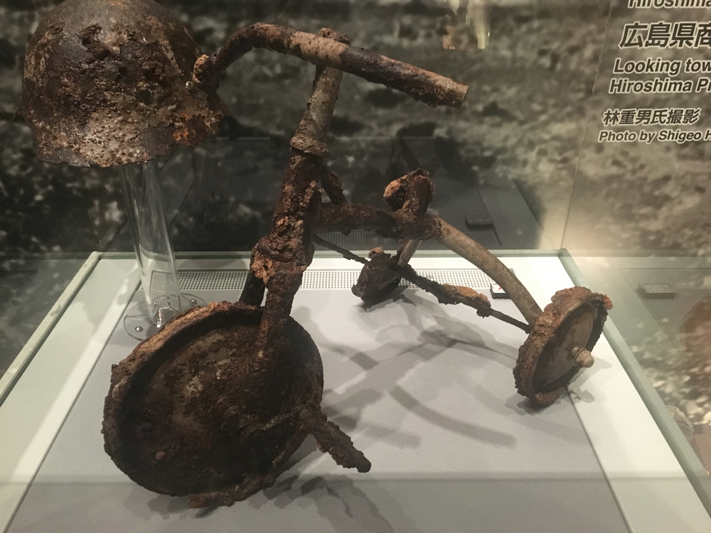 Tricycle badly burned in the atomic bombing
