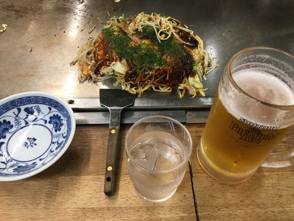 Okonomiyaki at Okonomi-Mura in Hiroshima