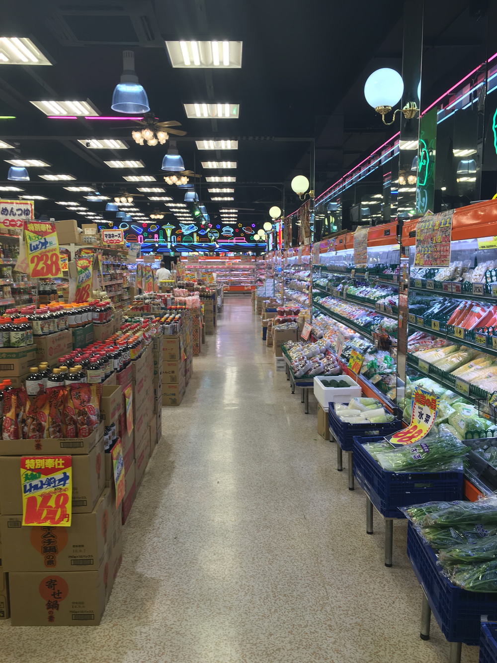 Osaka supermarket with crazy neon signs