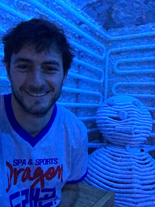 Cole and our snowman friend in the ice room