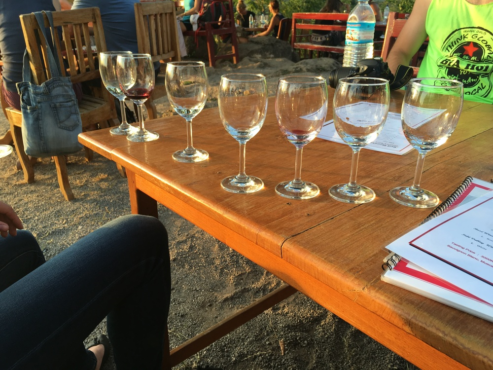 Tasting flight of hilariously bad wine