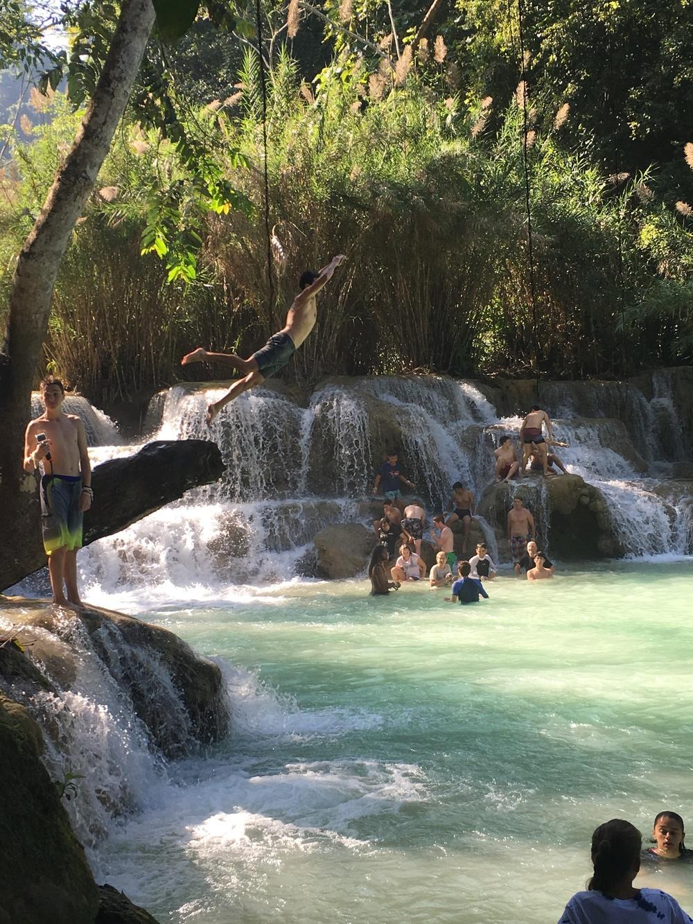 Jungle Jump at Tat Kuang Si waterfall