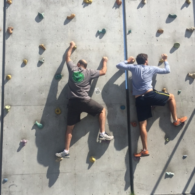 Father/son climbing in Wellington