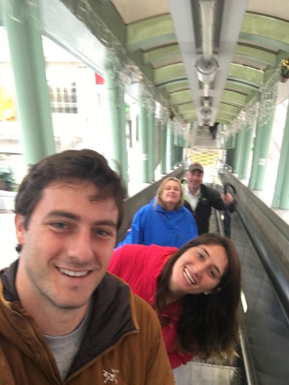Family escalator selfie