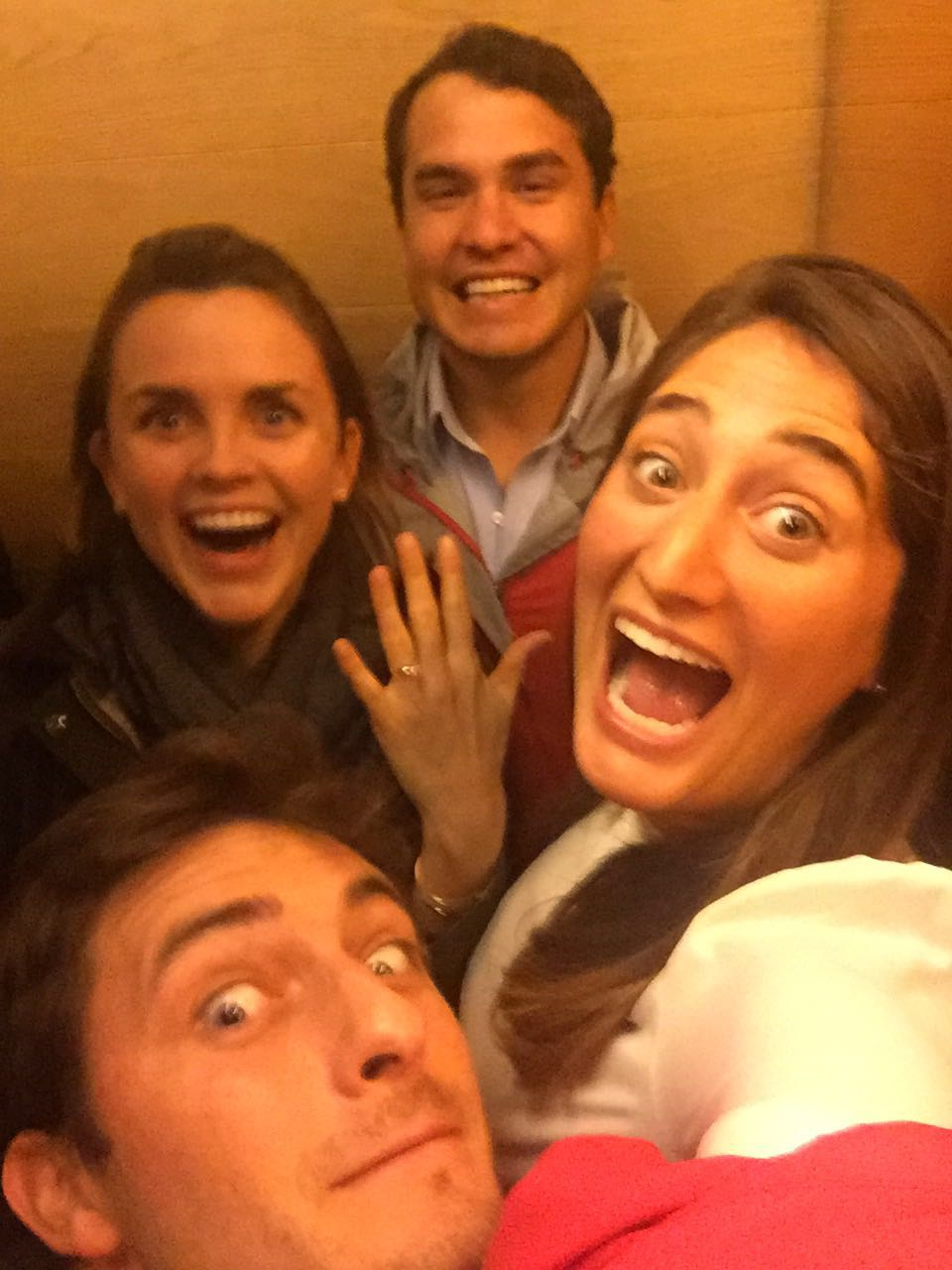Engagement elevator selfie