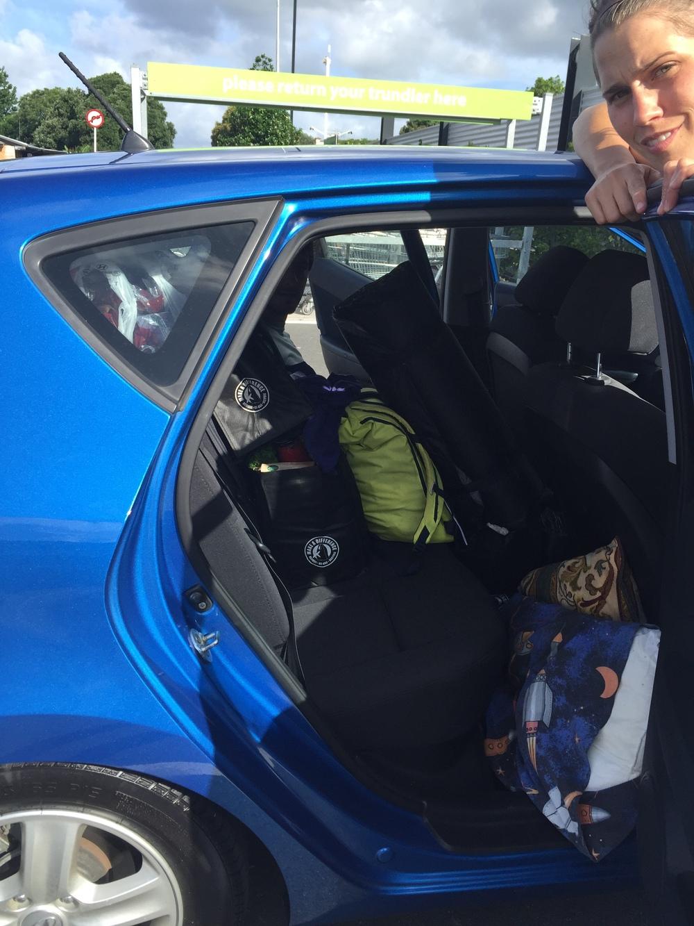 "Northlands road trip begins. ""Economy"" car"