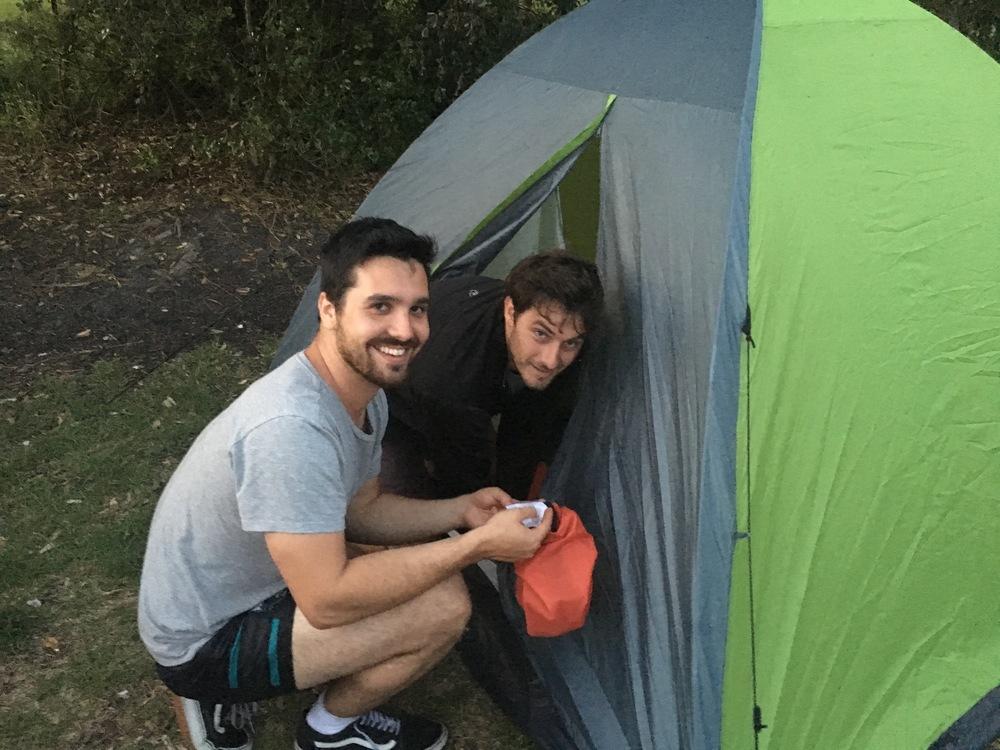 Alex and Cole on tent setup