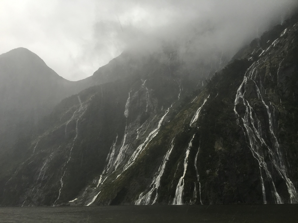 Thousands of waterfalls at Milford Sound