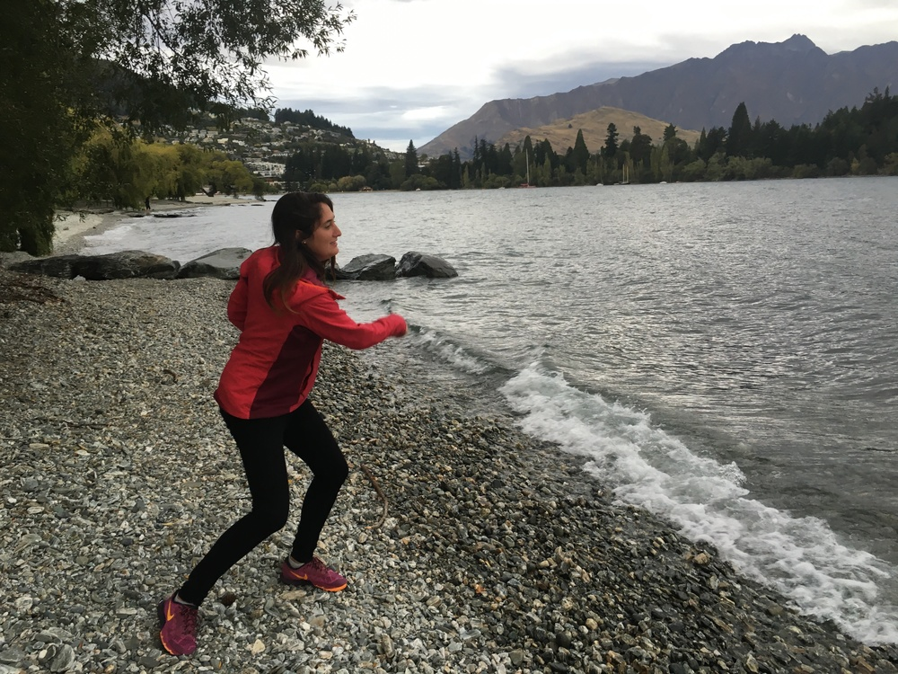 Skipping rocks at Lake Wakatipu