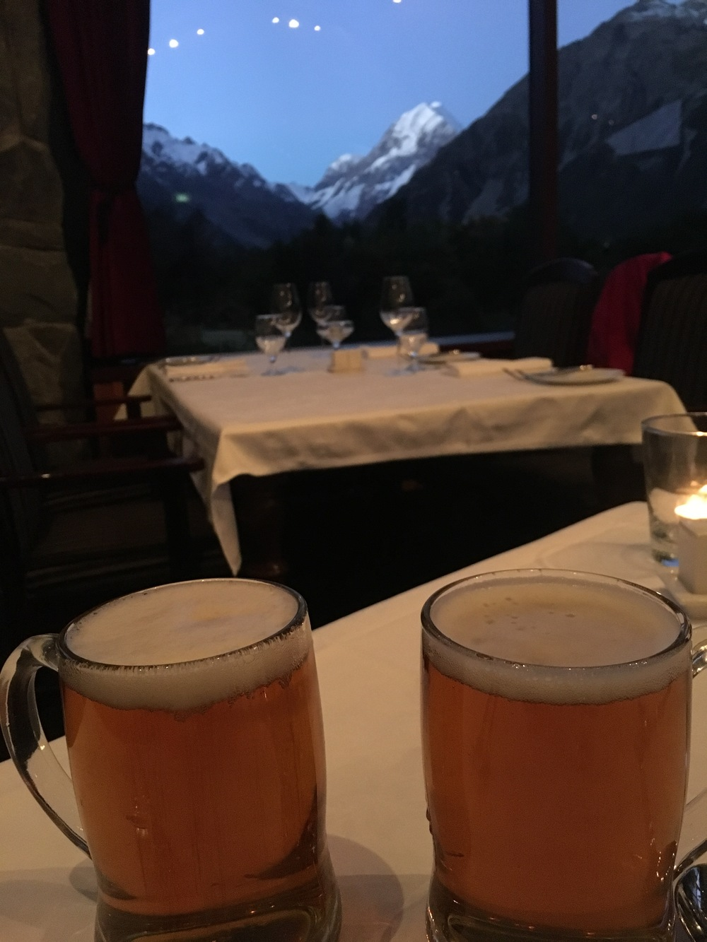 Well-deserved beers + view of Mount Cook