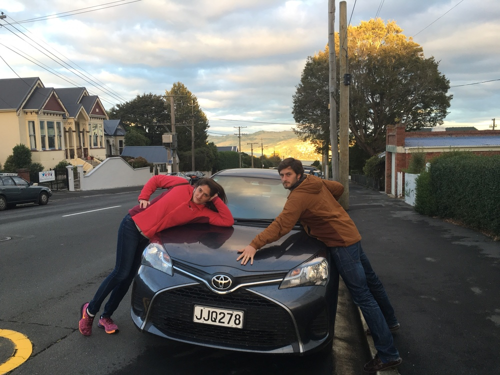 With our trusty Toyota Yaris, pictured at home base in Dunedin