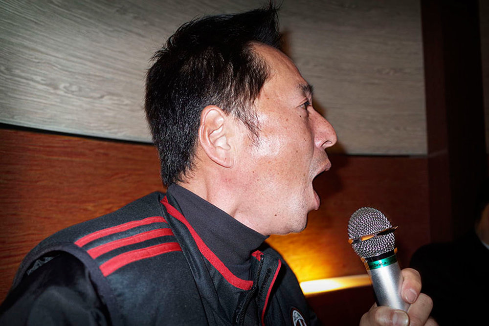 A man singing karaoke Sasebo, Japan 2015