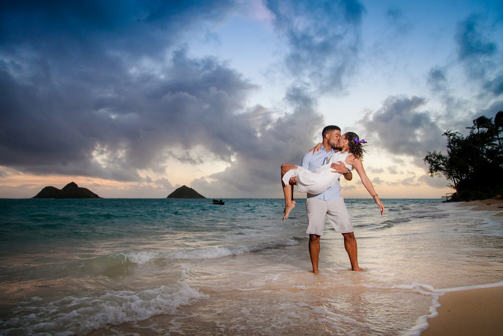 sunrise beach engagement photography oahu hawaii