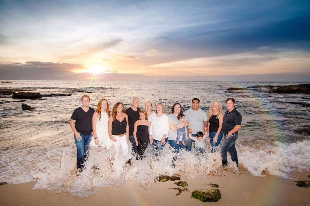 aulani family photos on Ko Olina beach sunset photographer