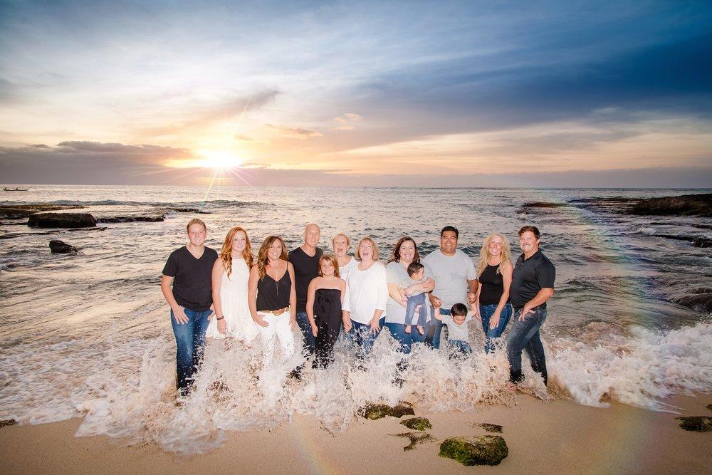 four seasons family photos on Ko Olina beach sunset photographer