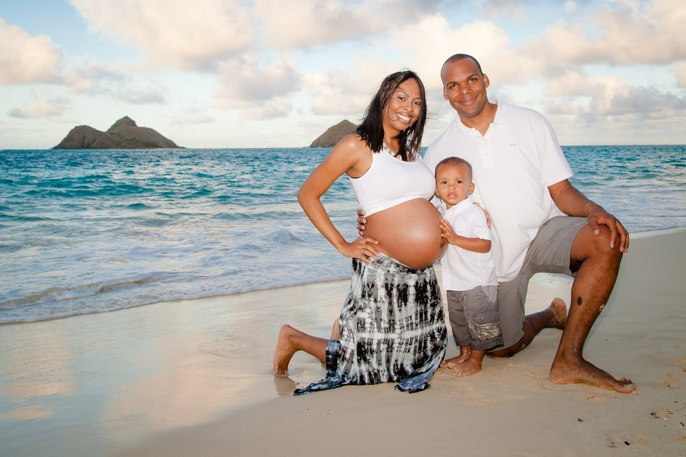 beach maternity portrait oahu hawaii