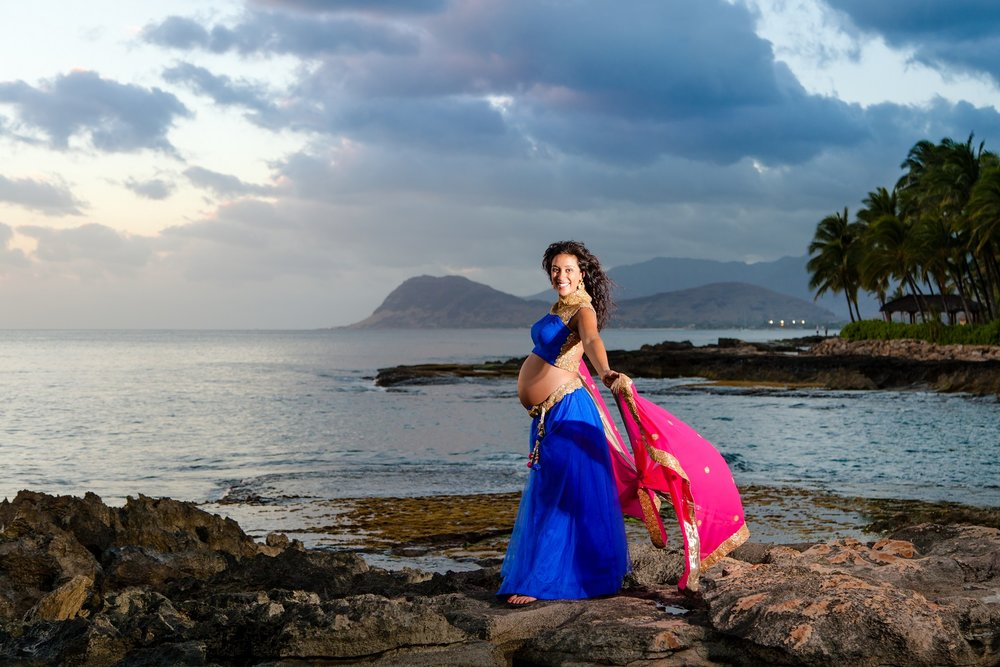 sunset indian maternity photo session beach oahu