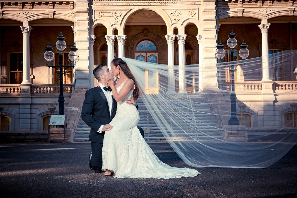 iolani palace oahu wedding bride groom portrait