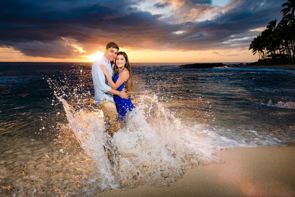 sunset engagement portrait on Oahu beach