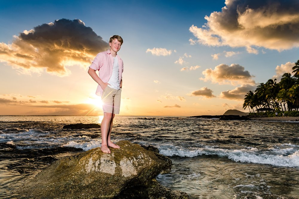 senior portrait sunset beach oahu high school