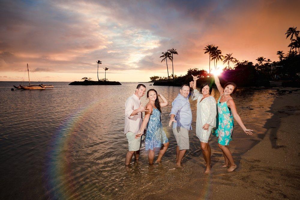 family sunset waikiki beach photography