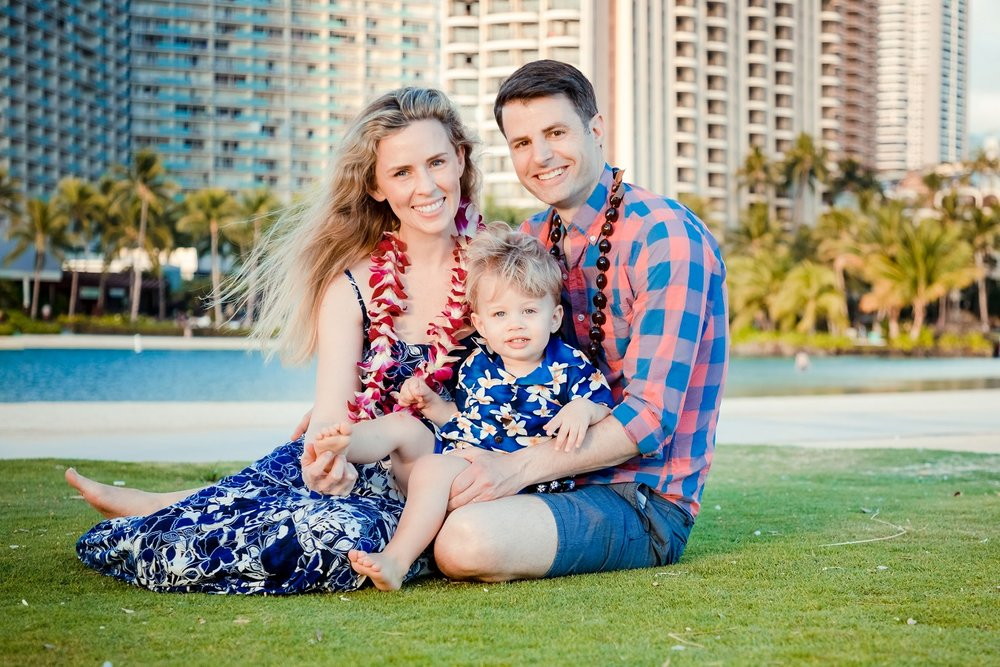 hawaiian hilton village waikiki family sunset portrait