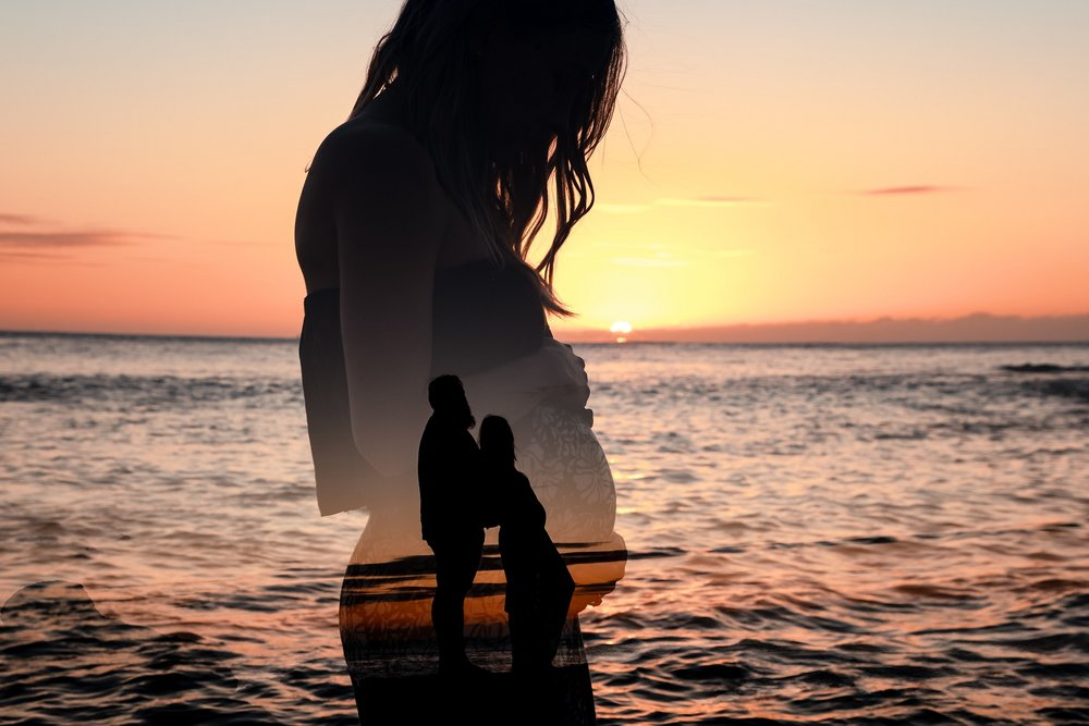 honolulu maternity babymoon silhouette double exposure beach portrait