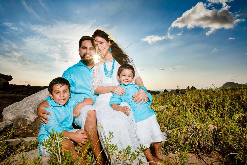 family sunset portrait Oahu four seasons resort
