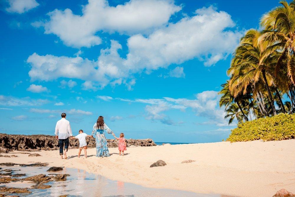 family beach palm trees vacation photo aulani ko olina oahu