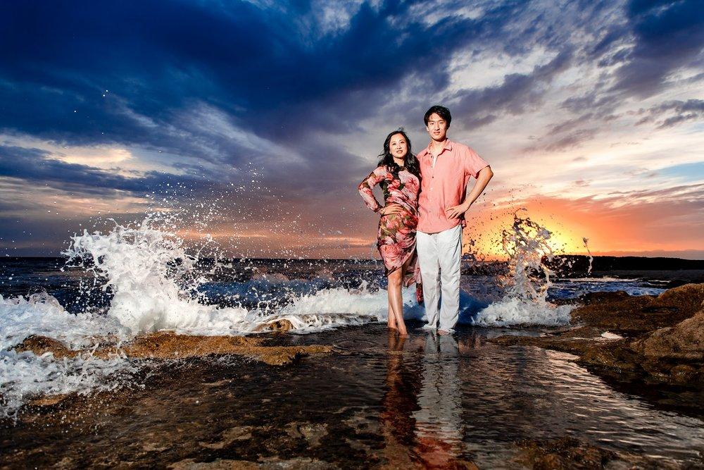oahu family beach vacation aulani sunset portrait