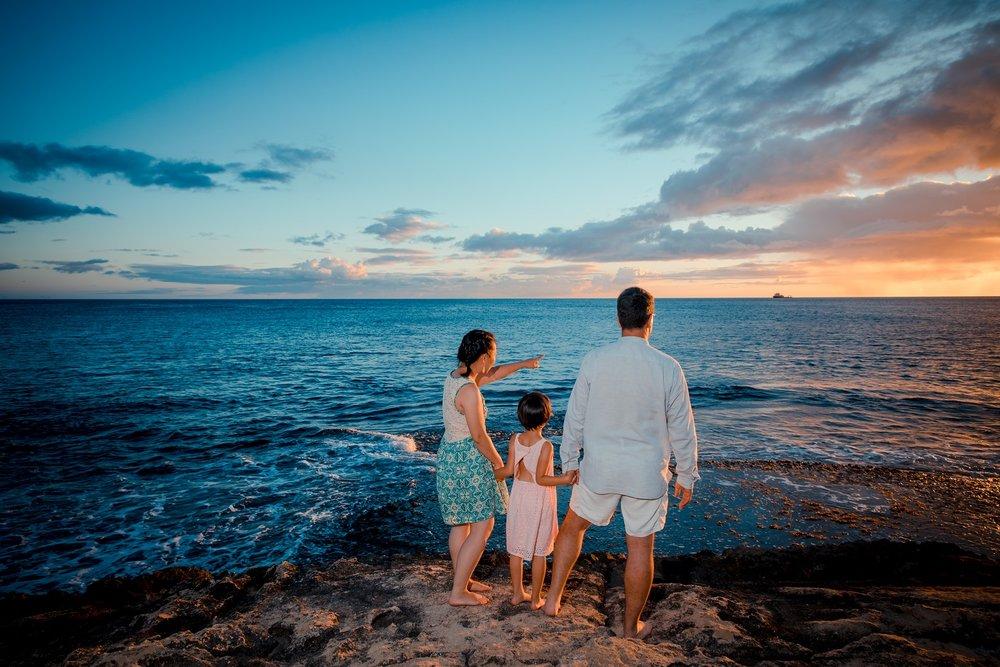 family sunset ocean vacation photos disney aulani resort oahu