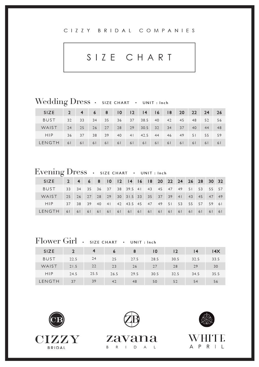 Size chart cizzy bridal wedding dress collection ombrellifo Gallery