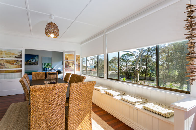 Beautiful window seats and dining area with bay views