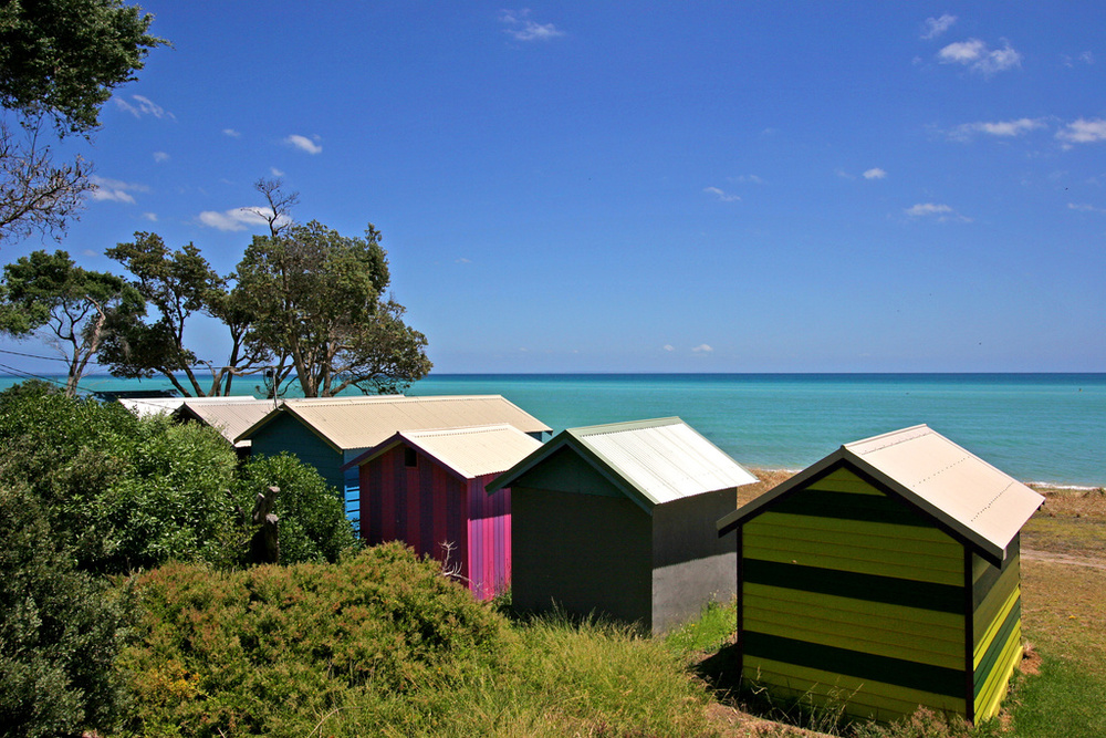 Dromana boat houses and beach
