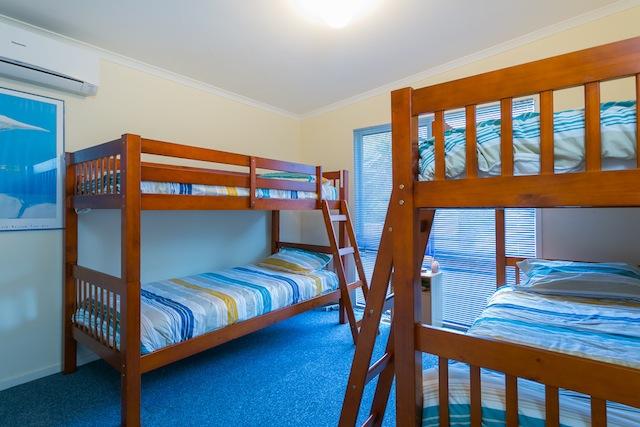 Bedroom 3, 2 x sets of bunks plus trundle (for a child), split system